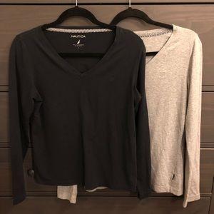 Two Nautica long sleeve shirts